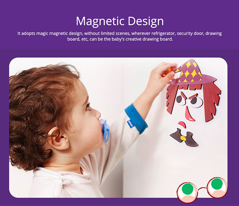 Magnetic Crazy Face Change Expression Fantasy Puzzle Fridge Sticker Toys Children Book Early Educational For Kids 4