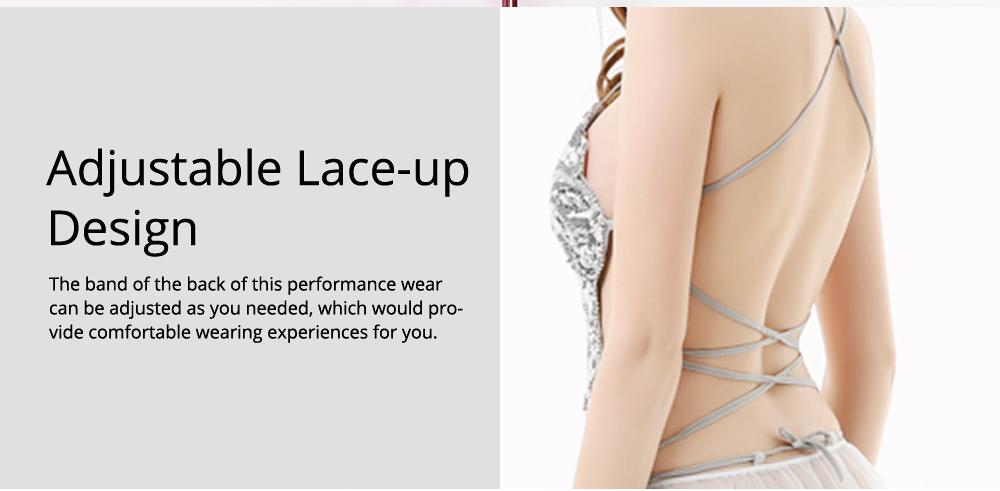 Sexy Stylish Shiny Paillette Butterfly Model Performance Wear, Soft Mesh Polyester Lace-up Backless Party Wear 2