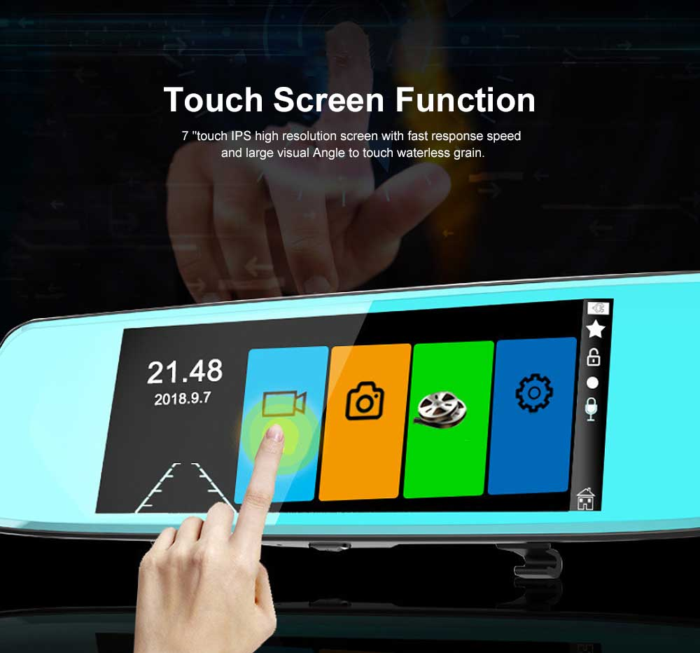 7 inch IPS Rear-view Mirror Recorder Equipped with Touch Function of 1080P High-definition Dual Recording 3
