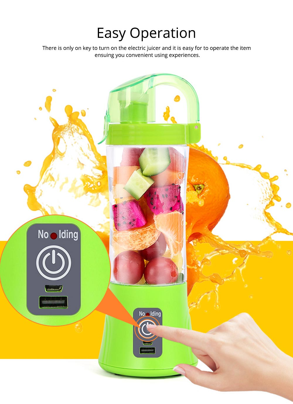 Portable Handy Household Electric Juicer, Multifunctional Juice Extractor Kitchen Tools with Power Bank Function 3