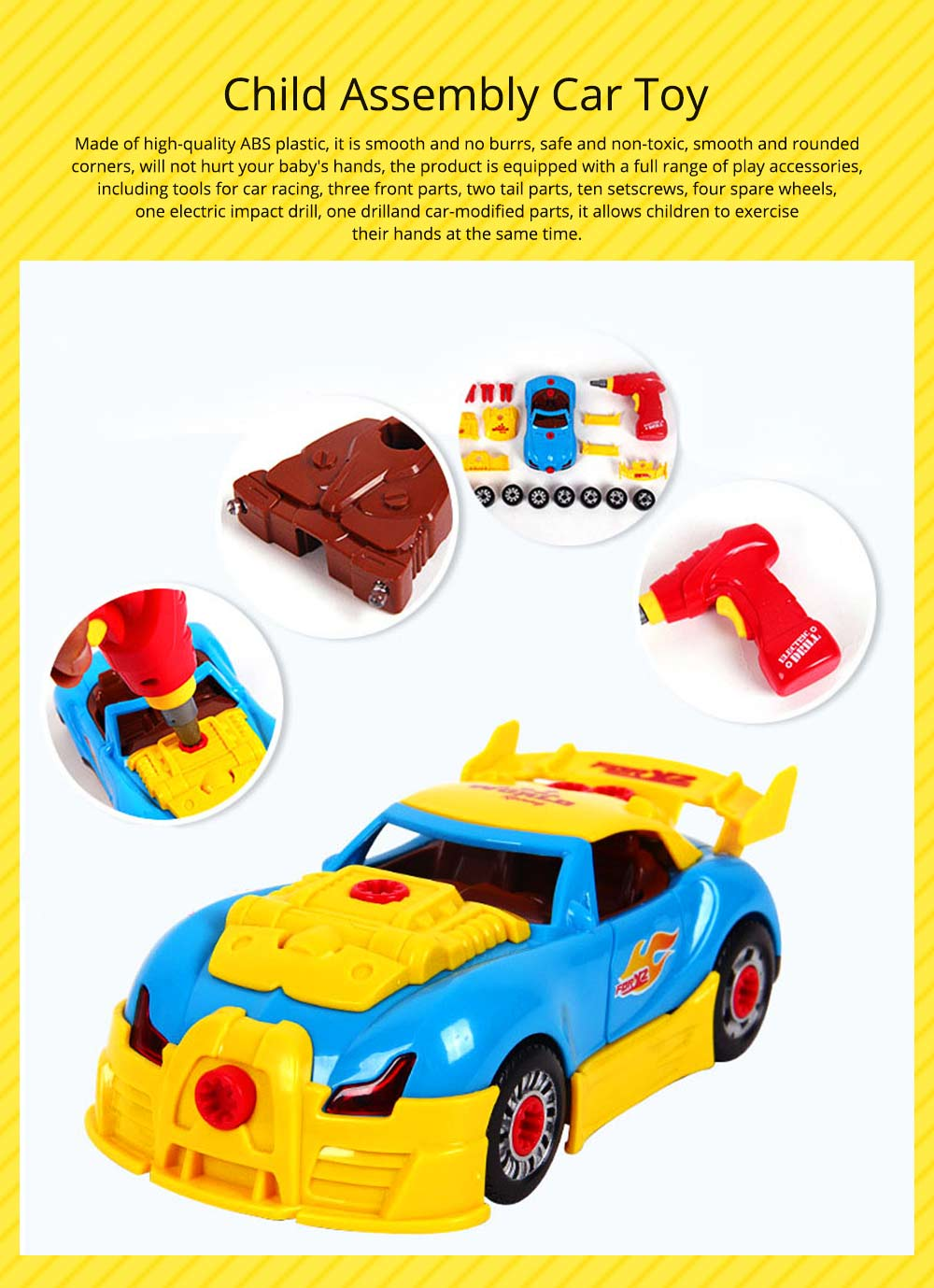 Baby Child Christmas Gift Kids Boy Disassembly Assembly Classic Drive Car Toy Detachable Electric Screwdriver 0