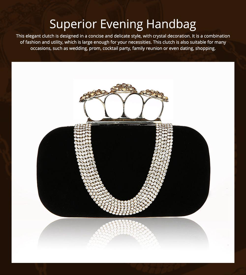 Korean Style Fashionable Velvet Evening Handbag, Superior Easy Matching Clutch Bag with Crystal for Dinner Party, Cocktail Prom 0