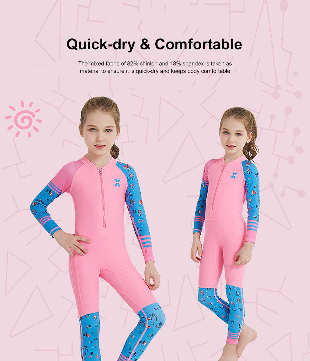 Outdoors Sunblock One-piece Swimsuit, Long Sleeve Sunscreen Quick-dry Swimwear for Diving, Snorkeling Children Swimwear 1