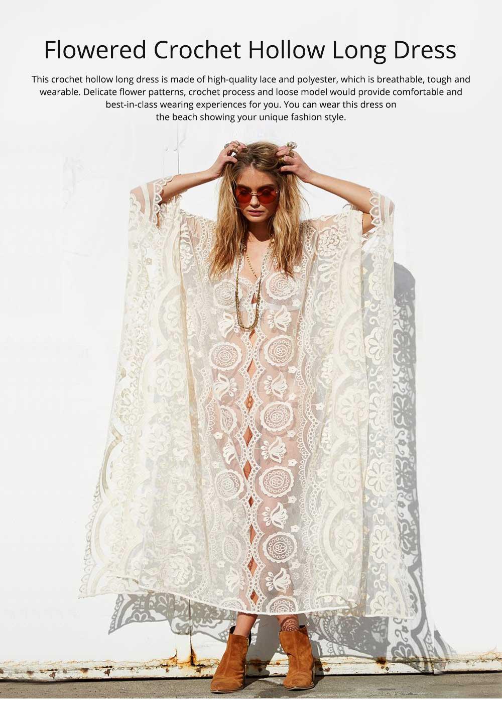 Delicate Fancy Crochet Hollow Lace Grenadine Long Dress, Sexy Fashion Flower Model Ladies Breach Evening Dress 0