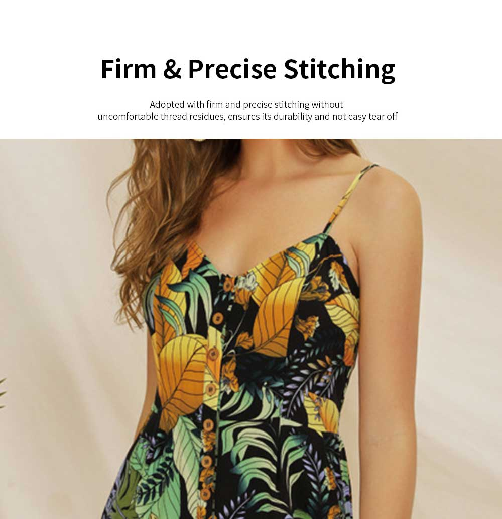 Women Leaf Printed Rompers with Single-breasted, Summer Lady Floral Printed Jumpsuit for Beach, Holiday, Traveling Sexy Jumpsuit Romper S, M, L, XL, XXL 4