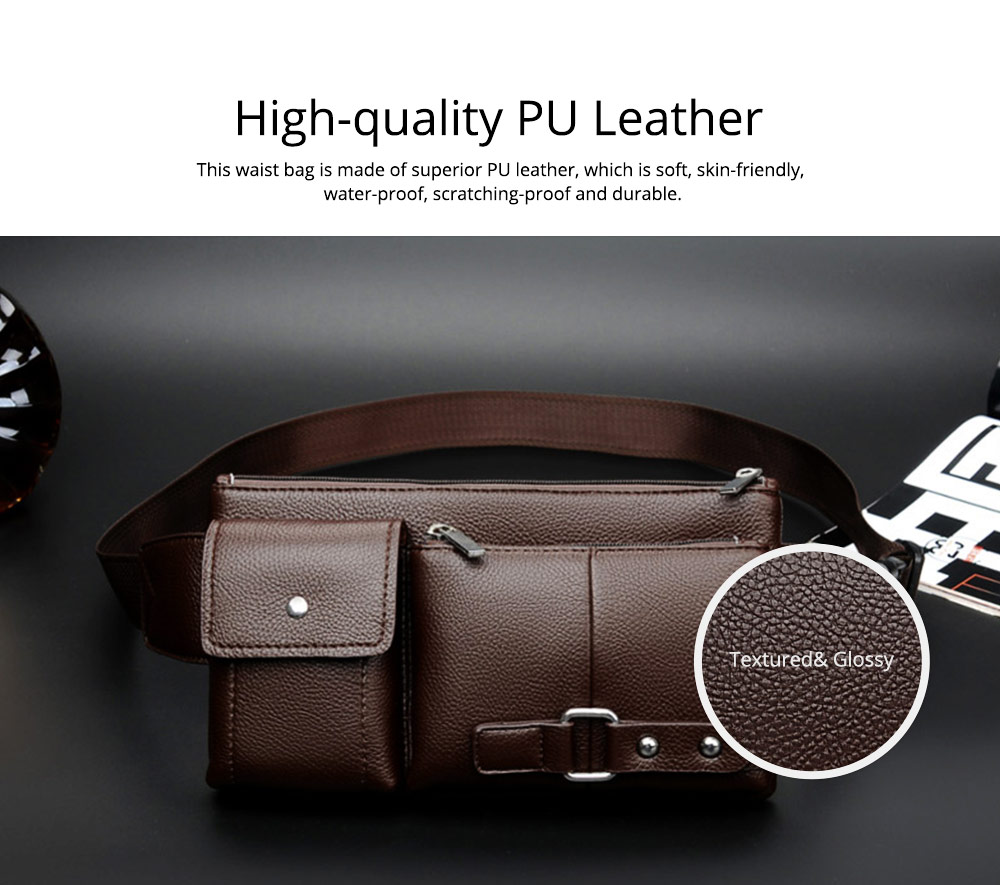 Minimalist Soft PU Leather Functional Men Waist Bag, Business Outdoors Sport Waist Shoulder Bag Wallet 1