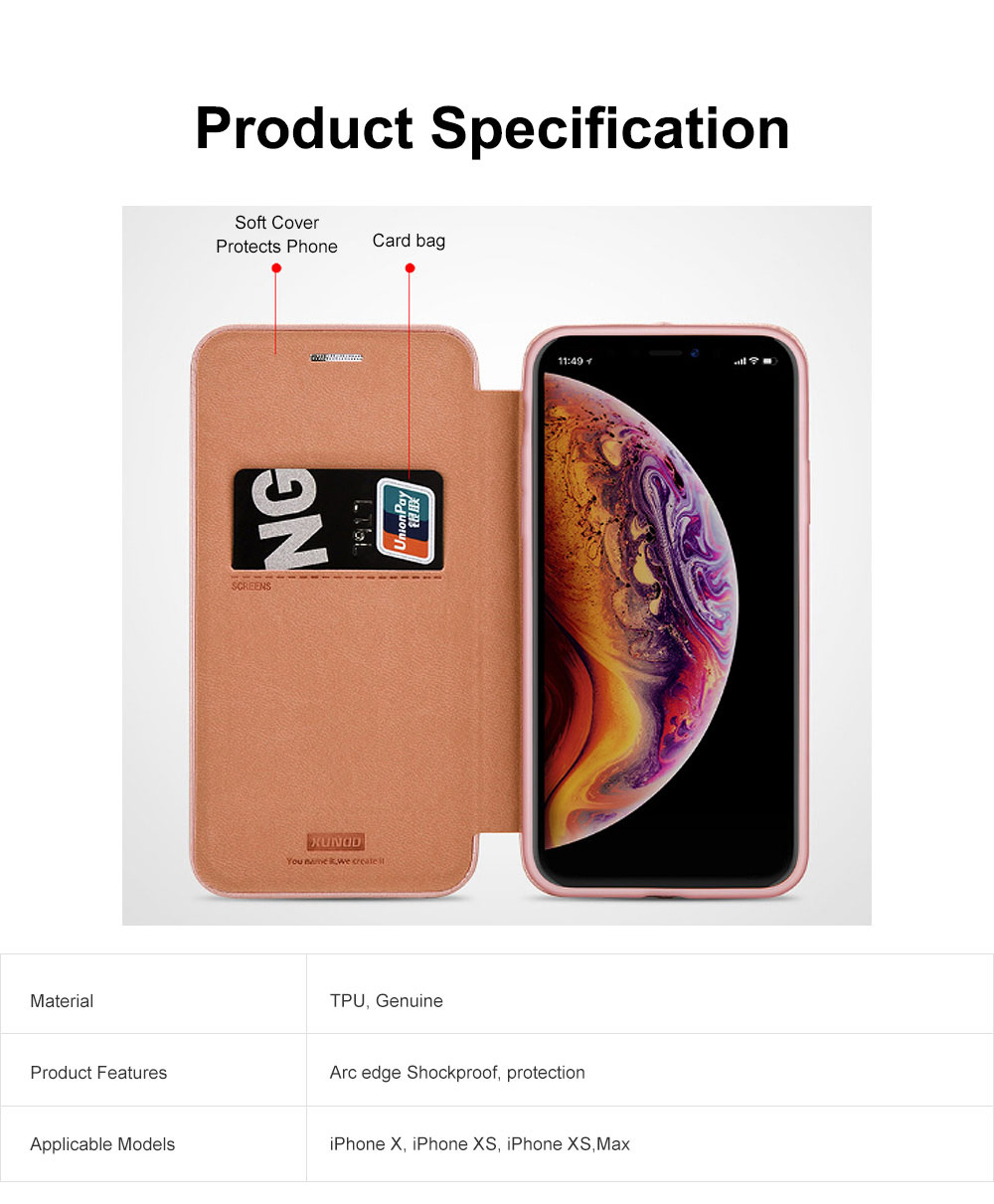 Flexible & Wear-resistant Arc Border Protection Clamshell Mobile Phone Shell with Genuine Leather Protective Back Cover For iPhone X XS, XS Max, 6 6S, 6S Plus XR 7 8, 8 Plus 7