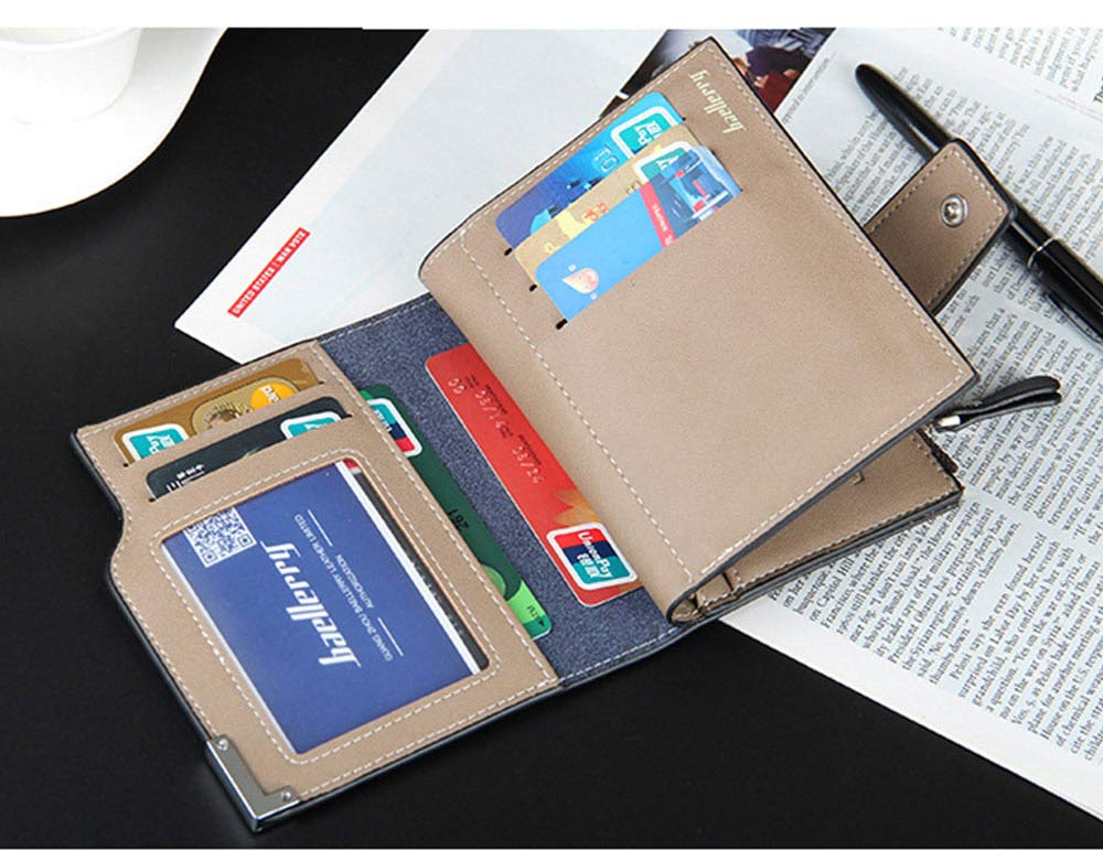 Men's Tri-fold PU Leather Handbag with Zipper, Multi-functional Organizer Card Cash Wallet for Men 4