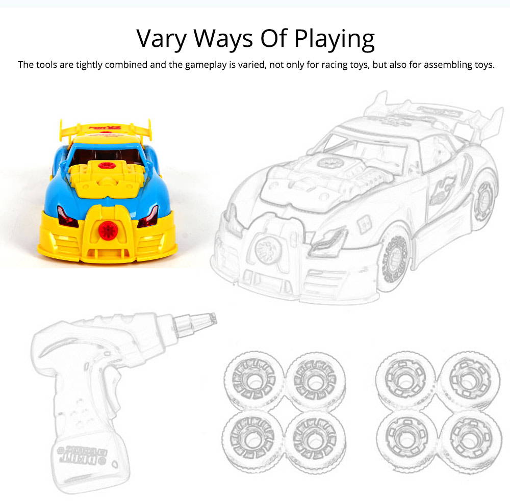 Baby Child Christmas Gift Kids Boy Disassembly Assembly Classic Drive Car Toy Detachable Electric Screwdriver 2