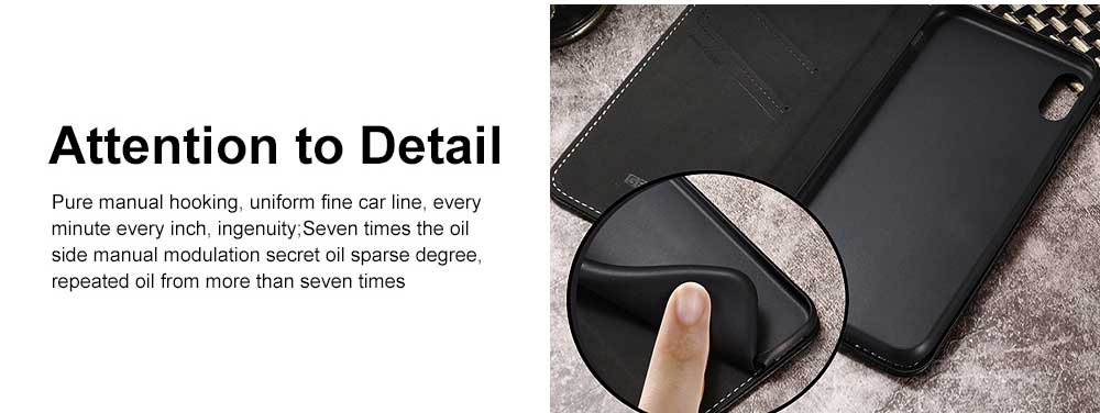 Wear-resistant Leather Crash-resistant Phone Shell with Soft Shell Edge Designed with Support Function & Card Slot for iphone 5 5s 5SE, 6 6S 7 8 Plus, X XS XR 4