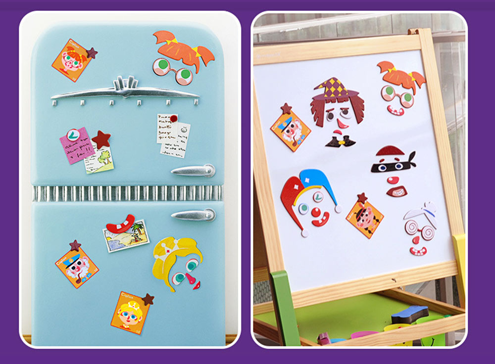 Magnetic Crazy Face Change Expression Fantasy Puzzle Fridge Sticker Toys Children Book Early Educational For Kids 6