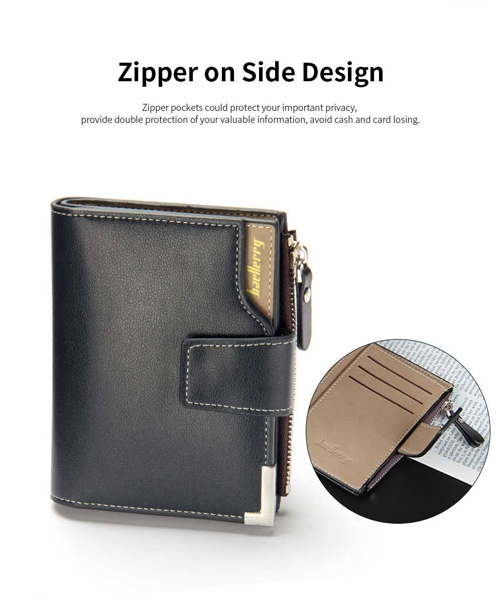 Men's Tri-fold PU Leather Handbag with Zipper, Multi-functional Organizer Card Cash Wallet for Men 2