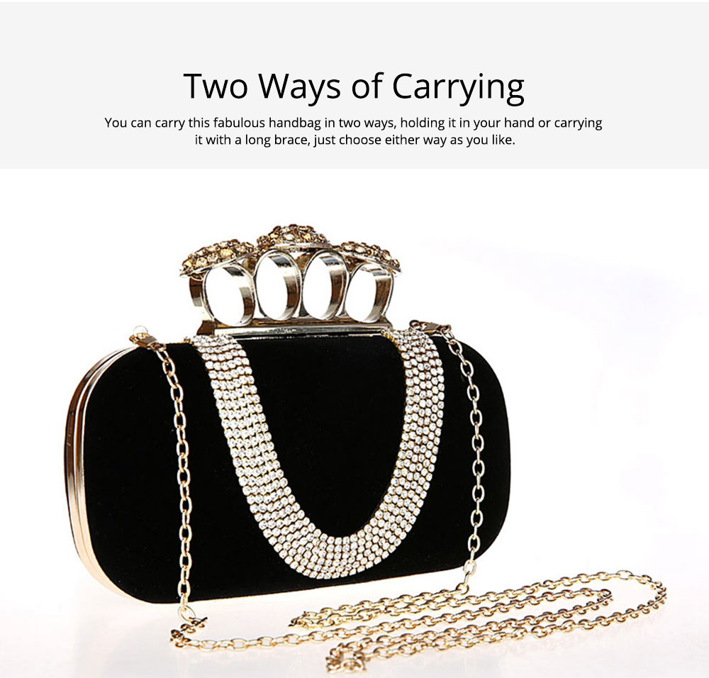 Korean Style Fashionable Velvet Evening Handbag, Superior Easy Matching Clutch Bag with Crystal for Dinner Party, Cocktail Prom 5