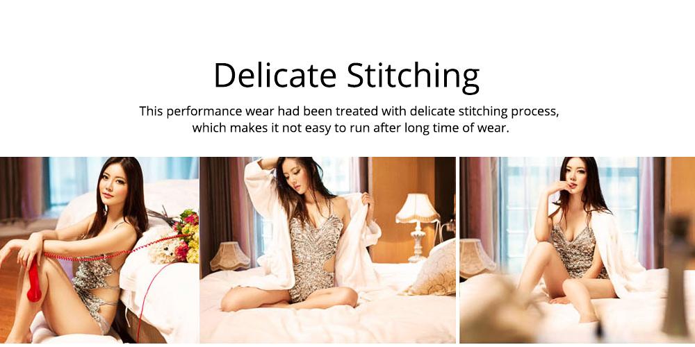 Sexy Stylish Shiny Paillette Butterfly Model Performance Wear, Soft Mesh Polyester Lace-up Backless Party Wear 5