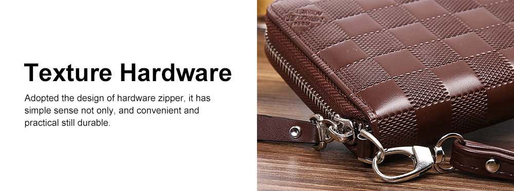 Long Plaid Leather Purse Wallet with Hardware Zipper Design, Stylish & Durable Handbag for Men 4