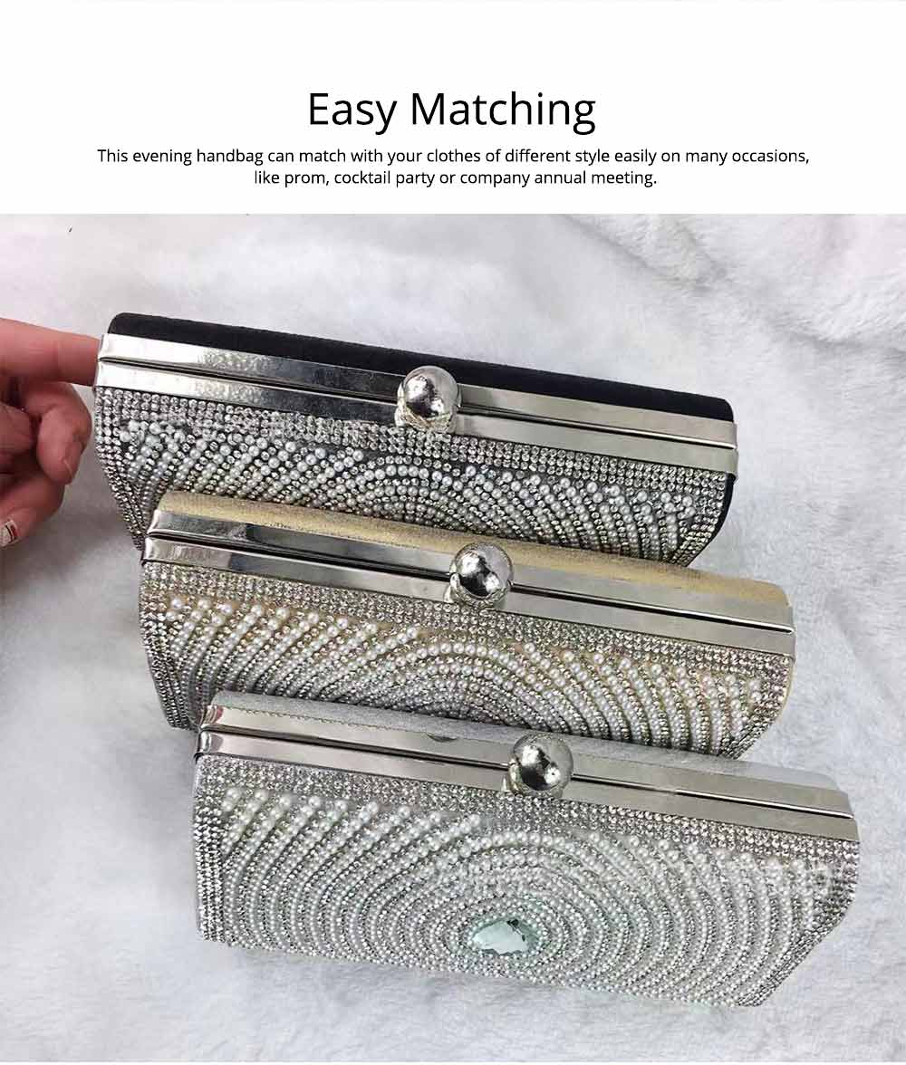 2019 Clutch Bags for Women Elegant Evening Handbag with Crystal and Pearl Decoration, Fashionable Easy Matching Clutch for Dinner Parties 3