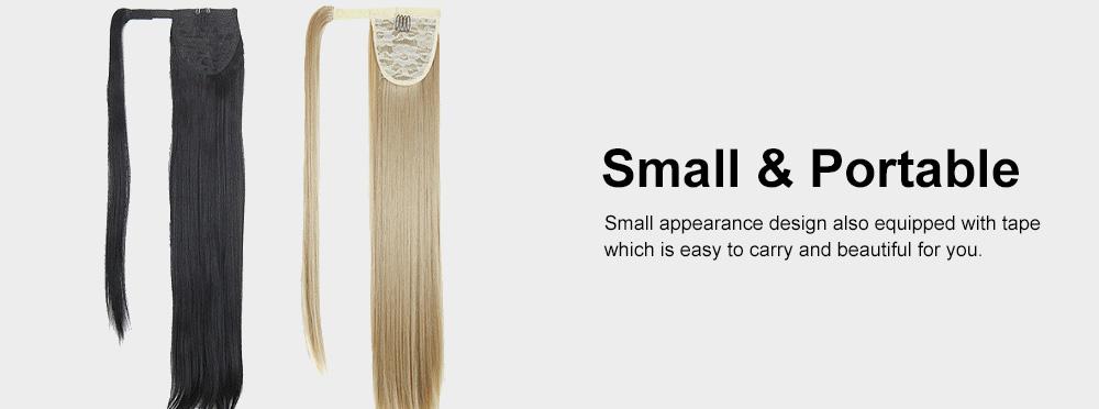 Lifelike & Vivid Wig Chemical Fiber Long Straight Hair Curly Magic Tape with Binding Design 4