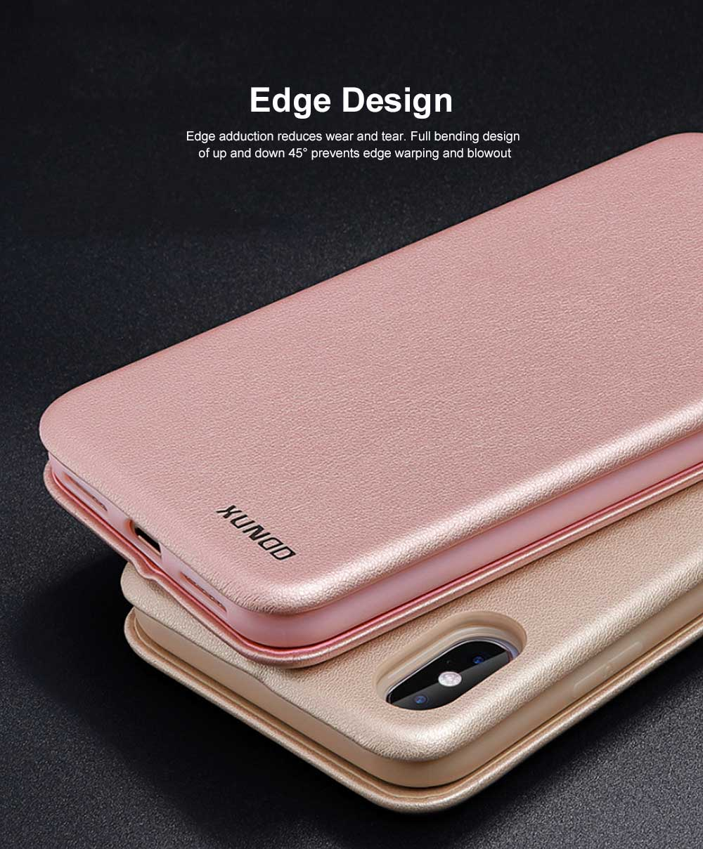 Flexible & Wear-resistant Arc Border Protection Clamshell Mobile Phone Shell with Genuine Leather Protective Back Cover For iPhone X XS, XS Max, 6 6S, 6S Plus XR 7 8, 8 Plus 1