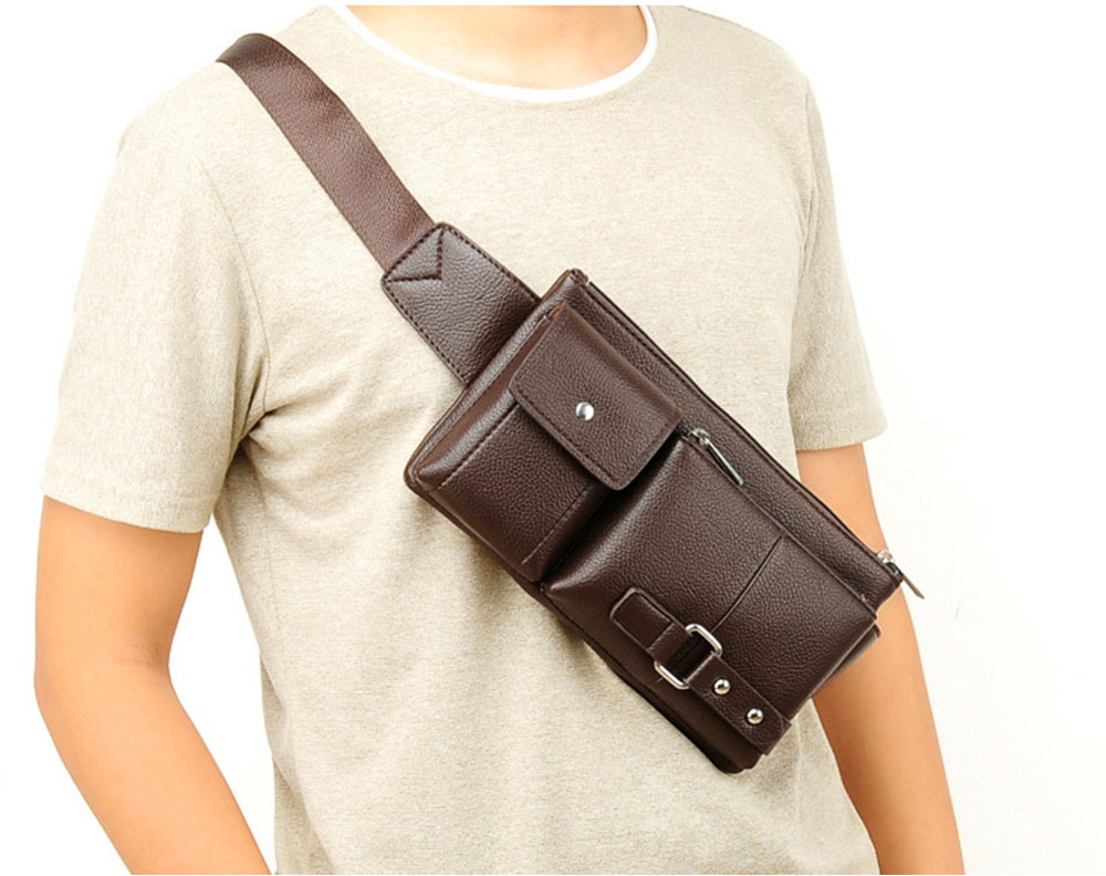 Minimalist Soft PU Leather Functional Men Waist Bag, Business Outdoors Sport Waist Shoulder Bag Wallet 3