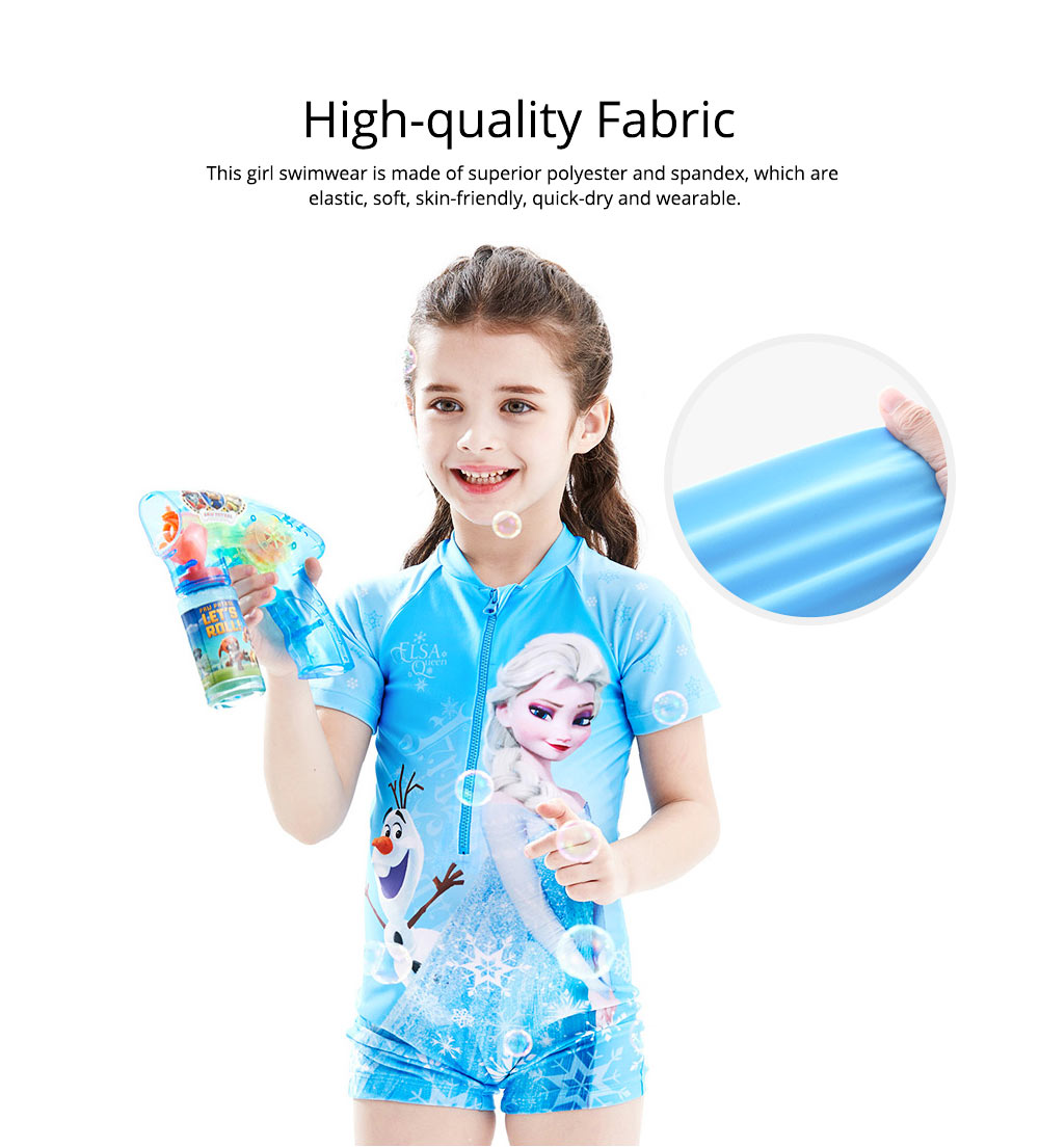 Cute Carton Frozen Elsa Painting Girl Swimwear, Skin-friendly Quick-dry Polyester Children Beach Surfing Wetsuit 1