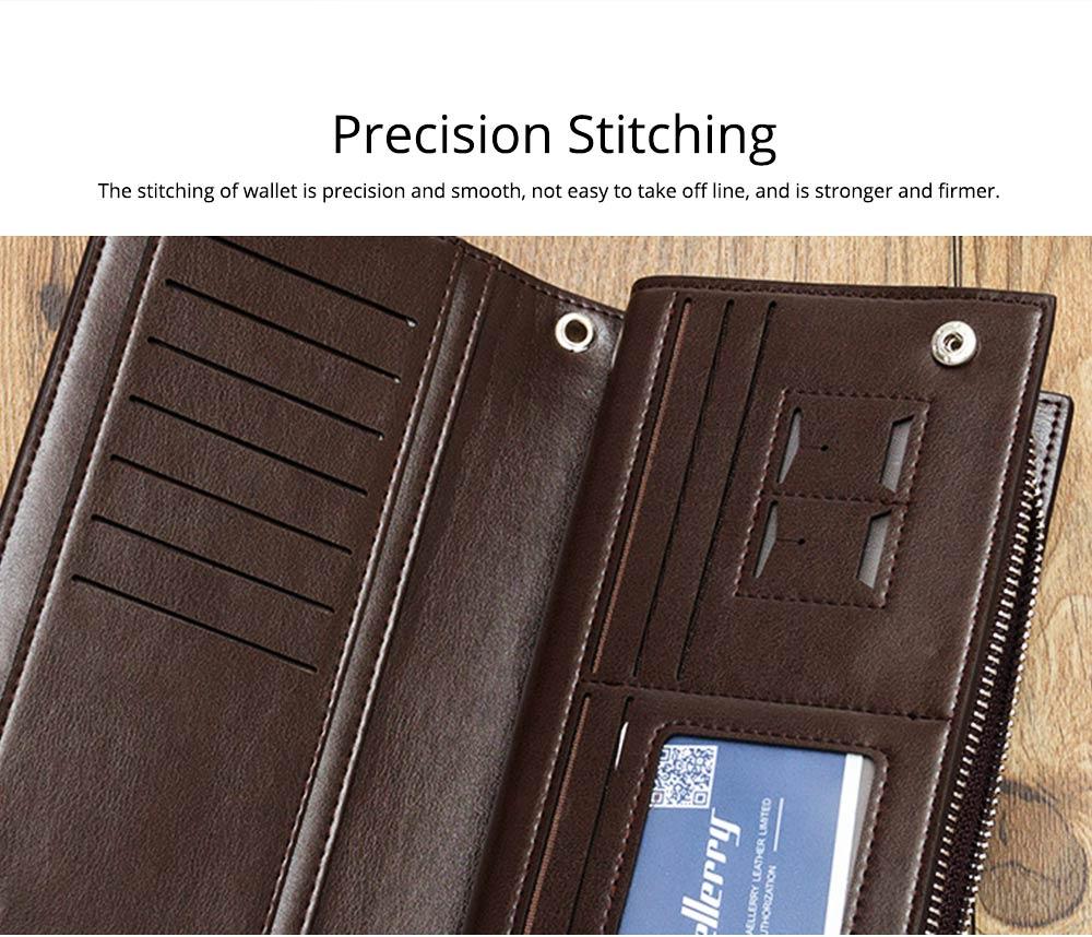 Baellerry Long Wallet for Men PU Leather Large Capacity Zipper Multiple Card Position Change Bag Handbag 3