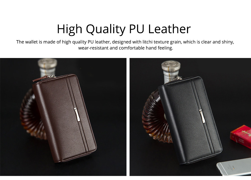 Large Capacity PU Leather Clutch Bag Wallet for Men, Double Zipper Multiple Card Positions Fashion Handbag Phone Bag 1