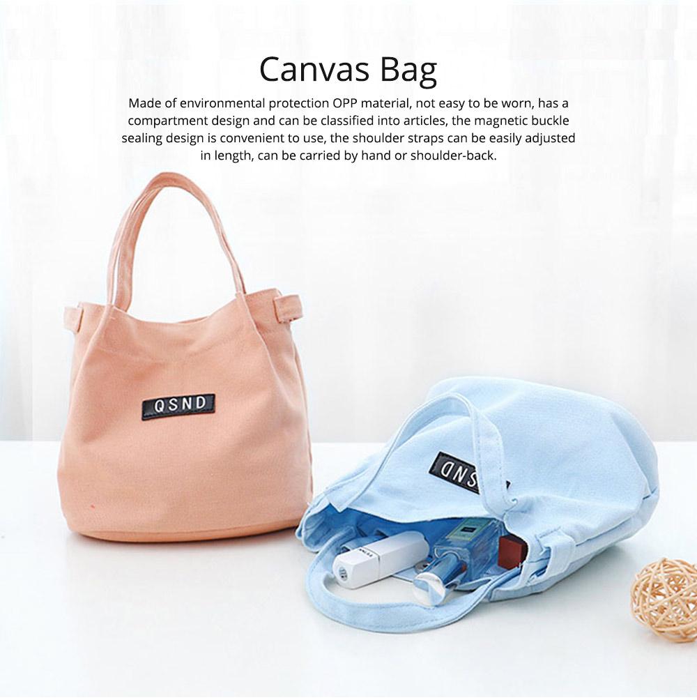 Canvas Bag Environmental Protection Portable Folding Simple Style Hand Bag Compartments Bento Bag 0