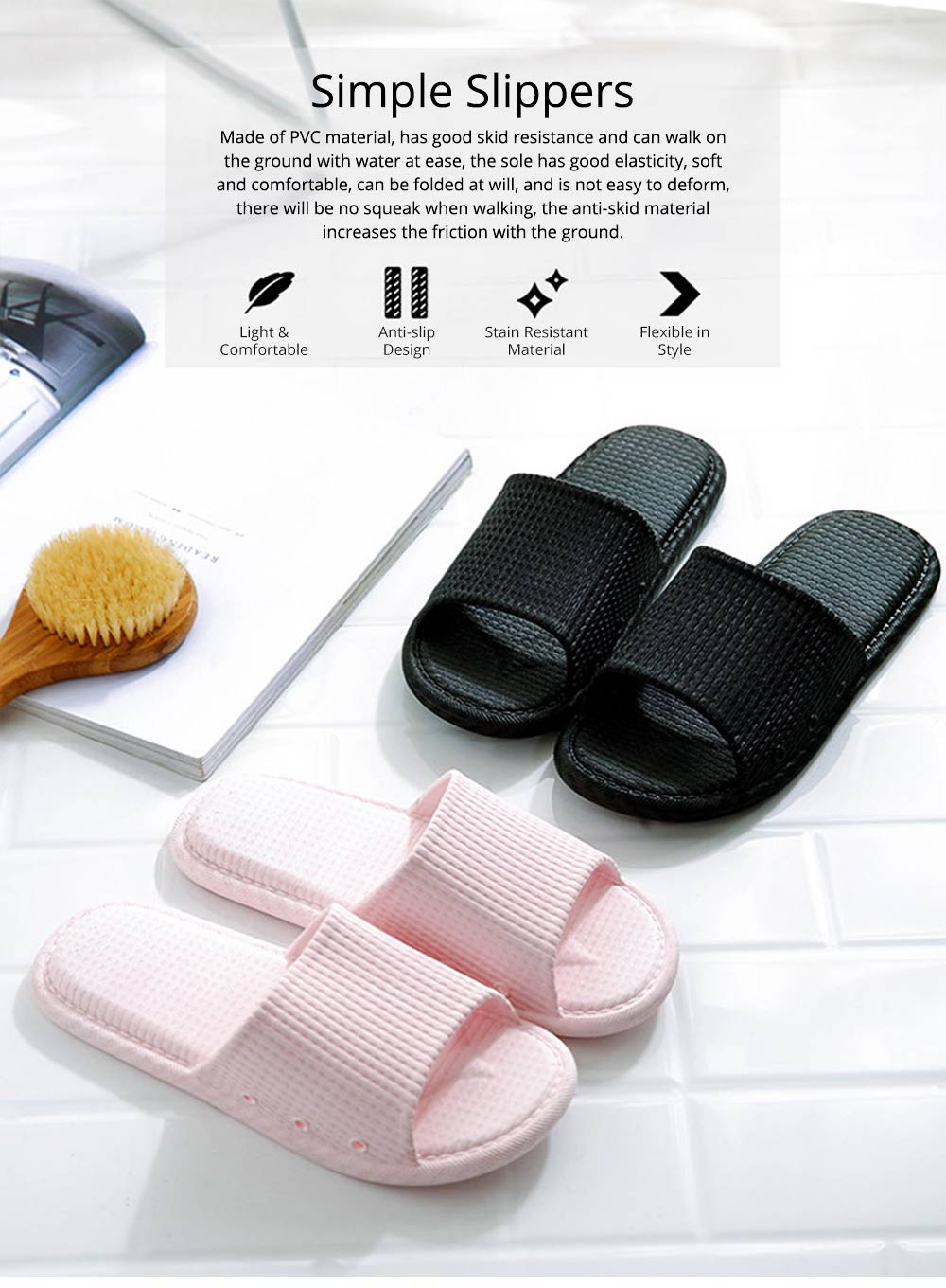 Summer Slippers PVC Anti-slip Soft for Couples Stain Resistant Comfortable Household Bathroom Slippers 2019 New 0