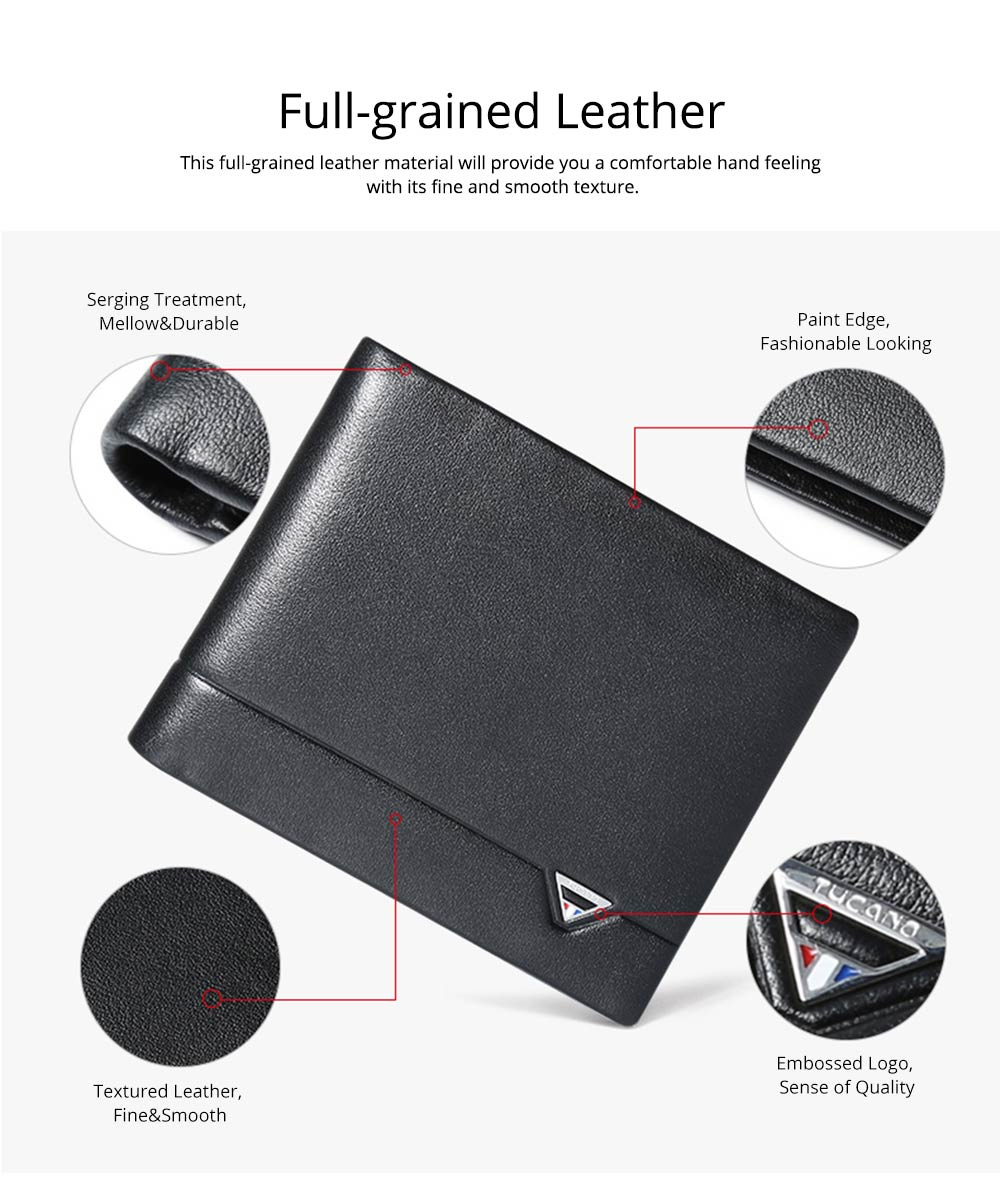 2019 Latest TUCANO Short Style Billfold for Young Men, Fashionable Genuine Leather Material Horizontal Wallet for Male 2