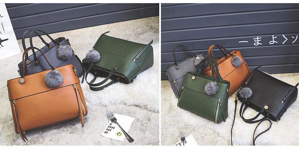 Lady Handbag PU Fashion Simple Hand Big Bag Shoulder Messenger For Women Middle-aged Mother 2