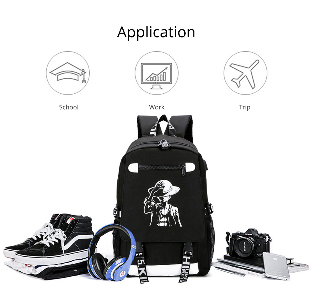 Stylish Luminous Carton Painting Casual Backpack, Soft Canvas Oxford Cloth Outdoors Student Shoulder Bag 12
