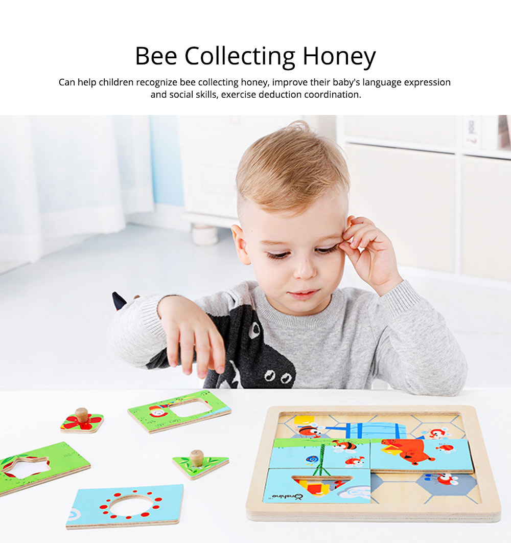 Children Puzzle Intelligence Cartoon Wood Learning Educational Jigsaw Puzzle Bee Honeymoon Baby Jigsaw puzzle For Kids Over 3 Years 2