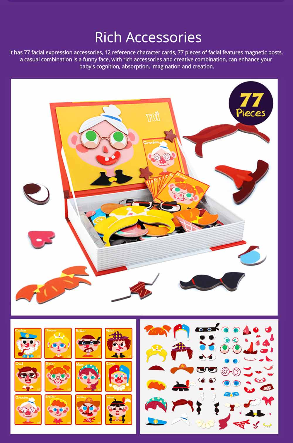 Magnetic Crazy Face Change Expression Fantasy Puzzle Fridge Sticker Toys Children Book Early Educational For Kids 3