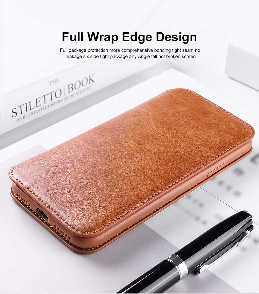 Ultra-soft Genuine Leather Crash-resistant Phone Case Pouch with Soft Shell Edge Designed with dormancy Function & Card Slot for iPhone 6.5 inch, 6.1 inch, 5.8 inch 2