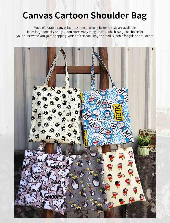 Canvas Cartoon Hand Bag Shoulder Bag, Environmental Protection Shopping Bag, Single-shoulder Bag with Lovely Cartoon Image 0