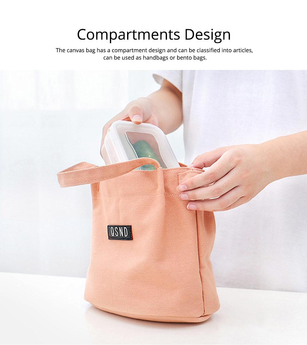 Canvas Bag Environmental Protection Portable Folding Simple Style Hand Bag Compartments Bento Bag 2