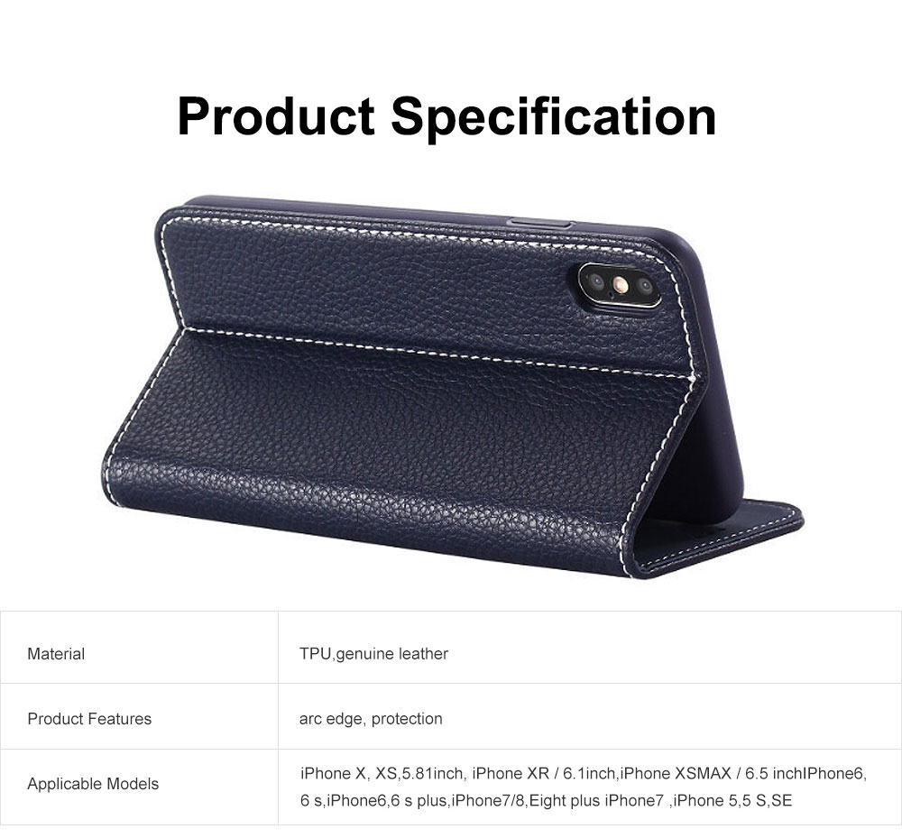Wear-resistant Leather Crash-resistant Phone Shell with Soft Shell Edge Designed with Support Function & Card Slot for iphone 5 5s 5SE, 6 6S 7 8 Plus, X XS XR 8
