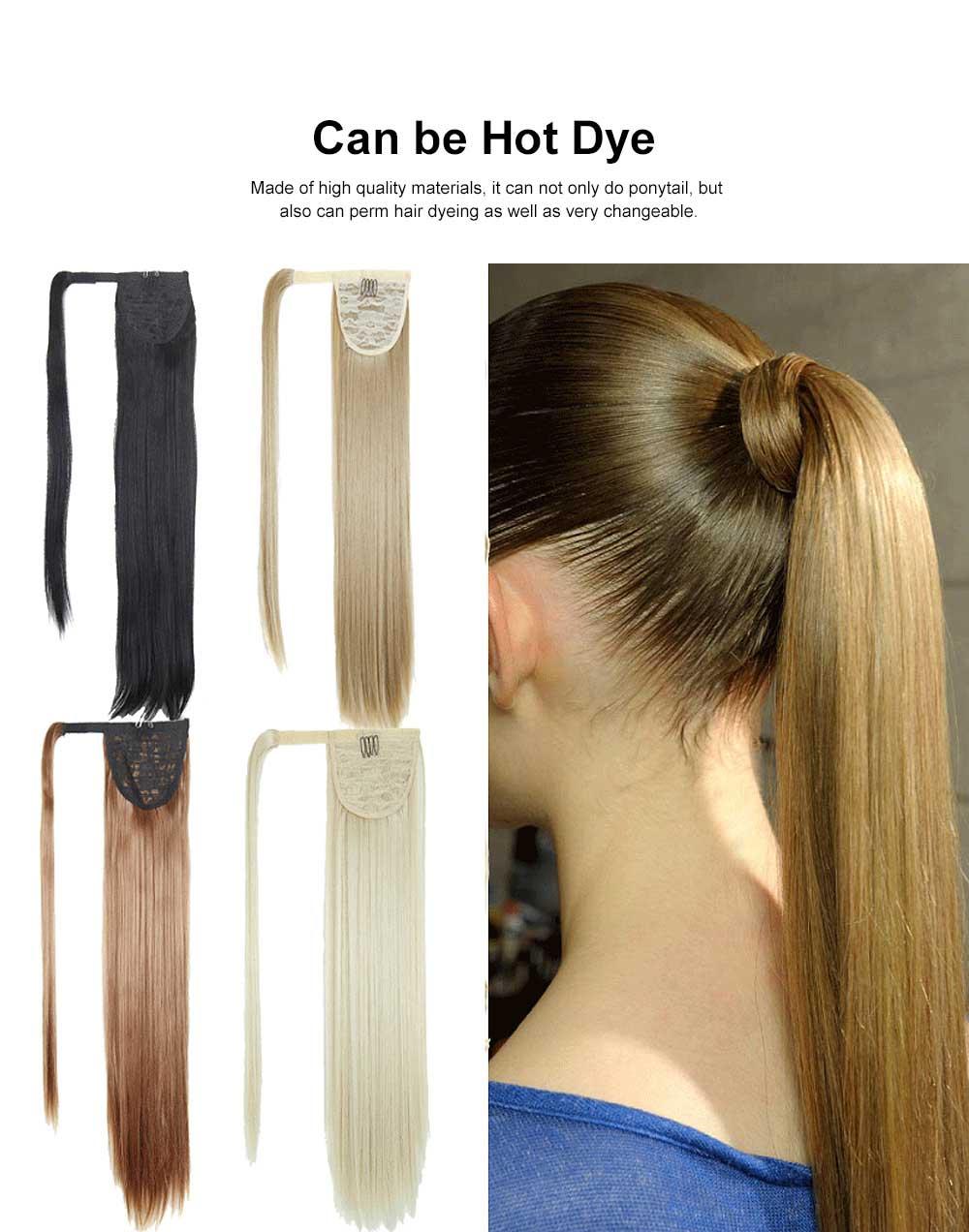 Lifelike & Vivid Wig Chemical Fiber Long Straight Hair Curly Magic Tape with Binding Design 1