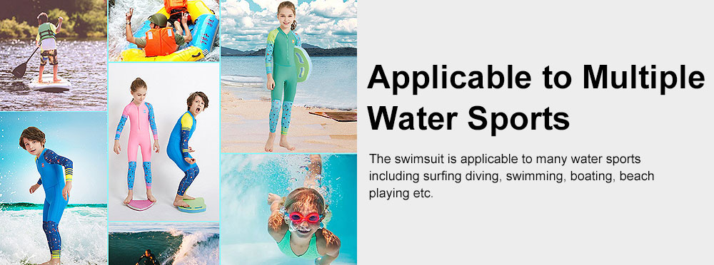 Outdoors Sunblock One-piece Swimsuit, Long Sleeve Sunscreen Quick-dry Swimwear for Diving, Snorkeling Children Swimwear 7