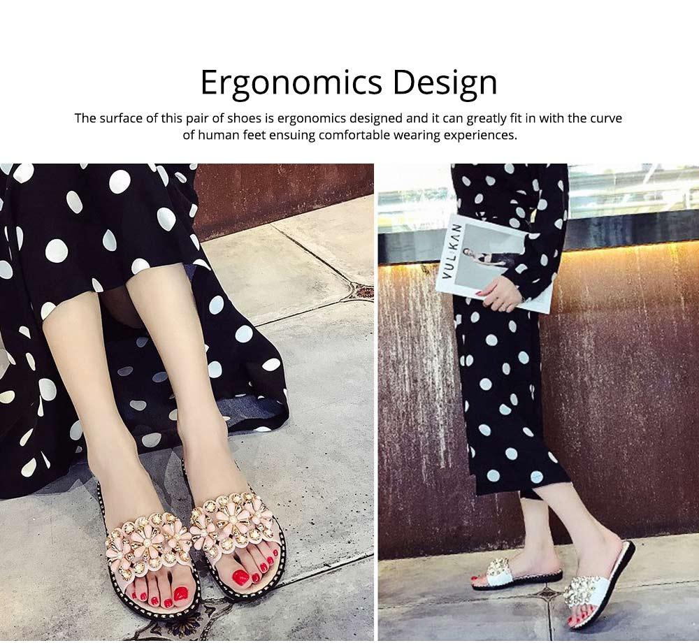Elegant Fancy Flower Rhinestone Pearl Decoration Lady Sandals, Soft Comfortable PU Leather Fashion Sandals for Women 4
