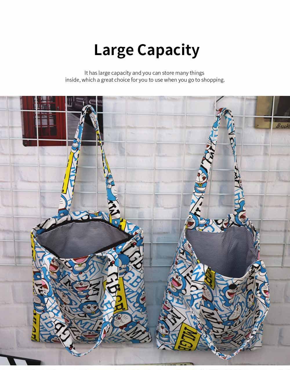 Canvas Cartoon Hand Bag Shoulder Bag, Environmental Protection Shopping Bag, Single-shoulder Bag with Lovely Cartoon Image 4