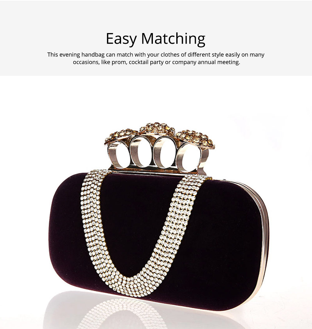 Korean Style Fashionable Velvet Evening Handbag, Superior Easy Matching Clutch Bag with Crystal for Dinner Party, Cocktail Prom 3