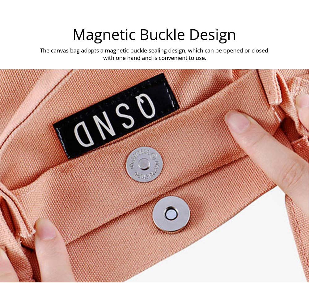 Canvas Bag Environmental Protection Portable Folding Simple Style Hand Bag Compartments Bento Bag 4