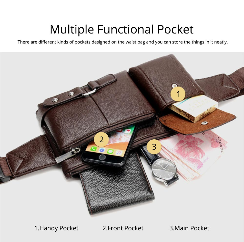 Minimalist Soft PU Leather Functional Men Waist Bag, Business Outdoors Sport Waist Shoulder Bag Wallet 8