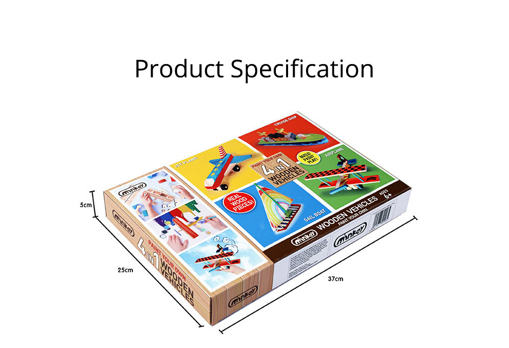 4 in 1 DIY Wood Education Plane Boat Tank Vehicle Model Set, Creative Assembled Male And Female Puzzle Graffiti Toys for Kids 8