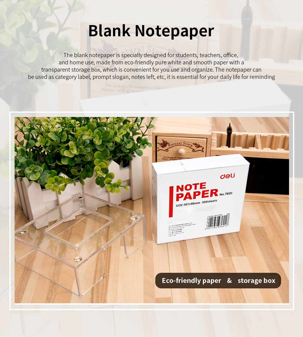 Blank Notepaper with Transparent Storage Box, All White Sticky Note for Students, Teachers, Office Home Use, 300 Sheets of Notepaper 107mm*96mm 0