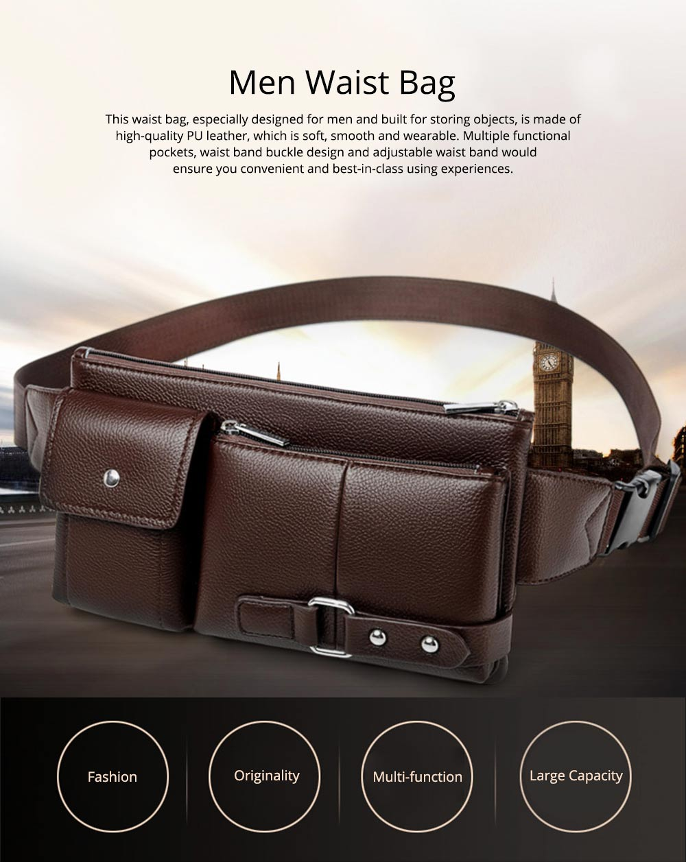 Minimalist Soft PU Leather Functional Men Waist Bag, Business Outdoors Sport Waist Shoulder Bag Wallet 0