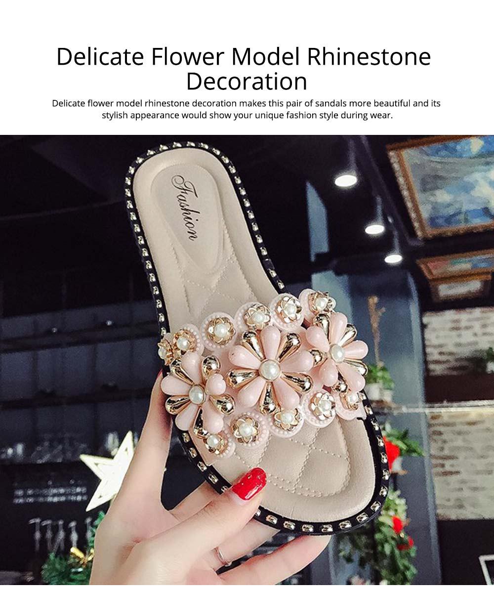 Elegant Fancy Flower Rhinestone Pearl Decoration Lady Sandals, Soft Comfortable PU Leather Fashion Sandals for Women 5