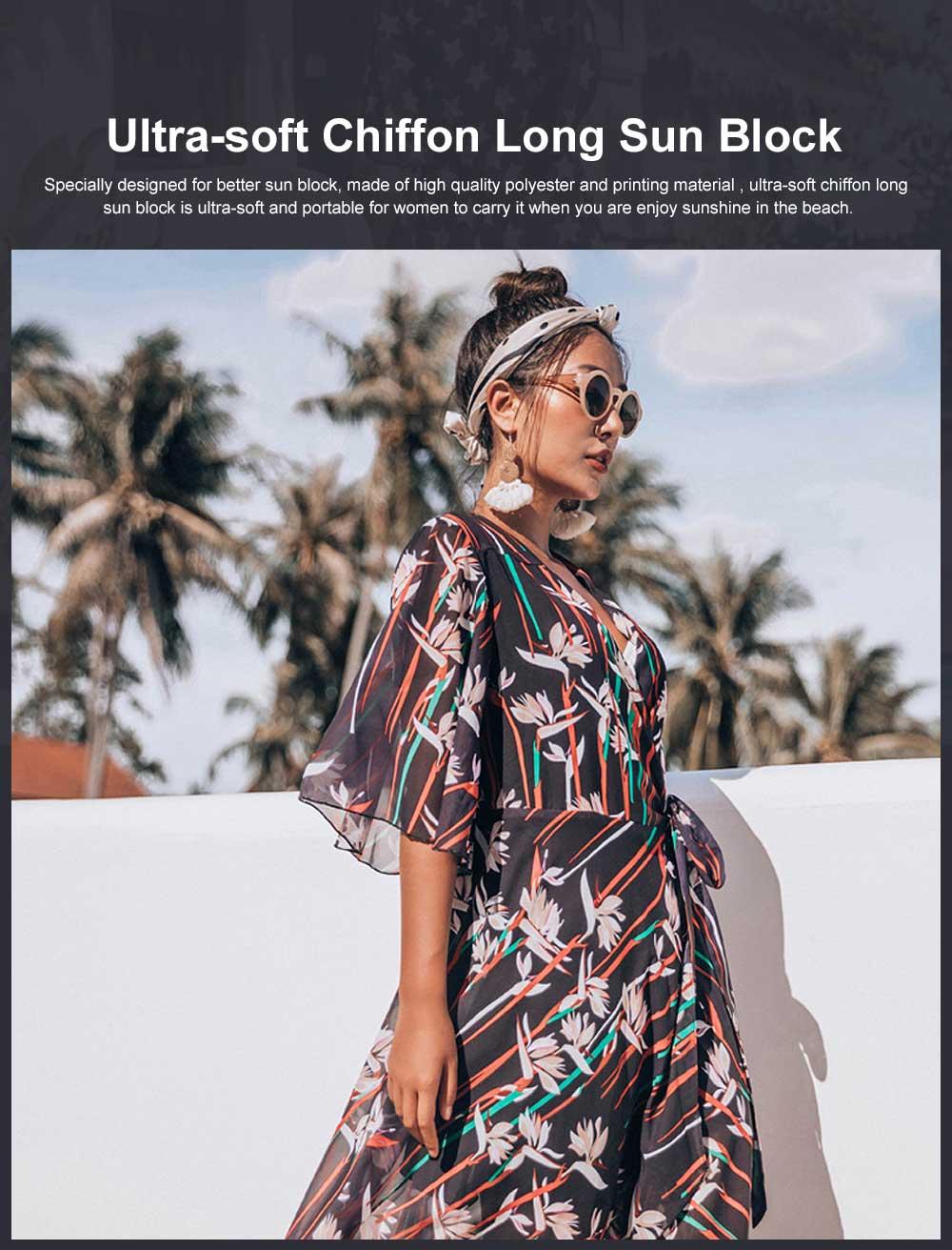 Comfortable & Ultra-soft Chiffon Long Sun Block for Beach Wear Bikini Tops for Women 0
