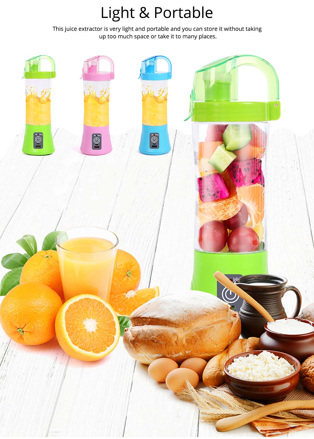 Portable Handy Household Electric Juicer, Multifunctional Juice Extractor Kitchen Tools with Power Bank Function 4